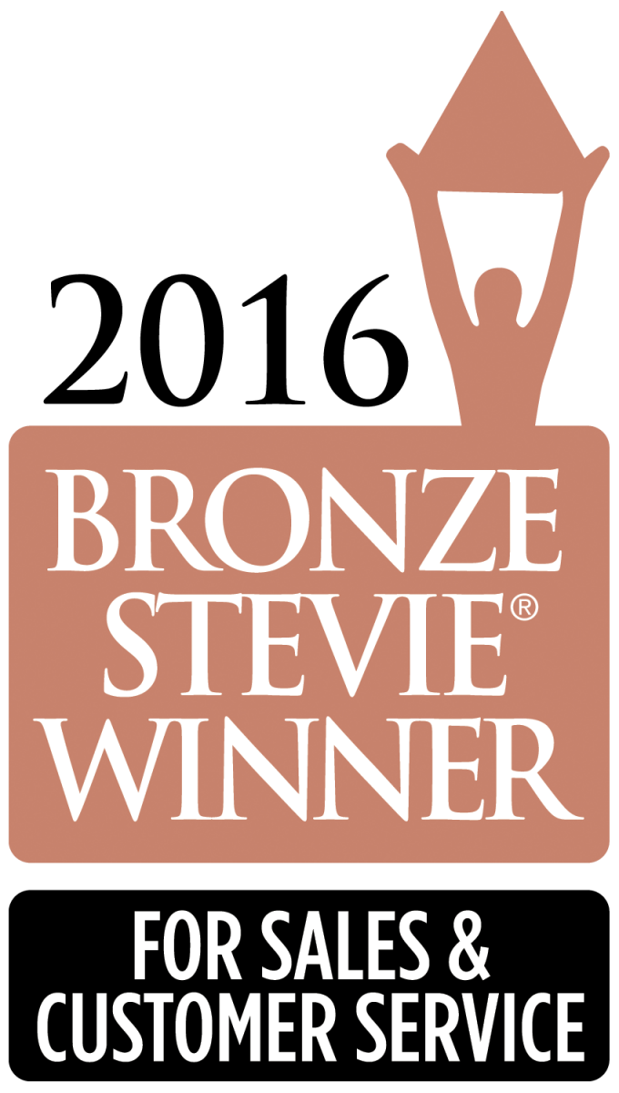 Bronze Stevie Winner 2016 For Sales and Customer Service